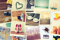 Mosaic with pictures of different objects cillage retro effect Stock Photo