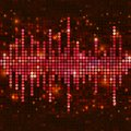 Mosaic pink equalizer sound wave with sparkling spots vector music background Stock Image
