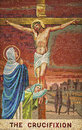 Mosaic representing the crucifixion of jesus christ Stock Images