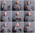 Mosaic of senior man emotions Royalty Free Stock Photo