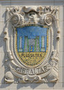 Mosaic shield of renowned port city gibraltar at the facade of united states lines panama pacific lines building new york august Stock Photos