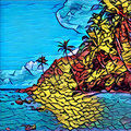 Mosaic style, graffiti or stained glass image of tropic island. Exotic nature landscape. Royalty Free Stock Photo
