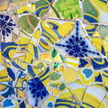 Mosaic tile decoration broken glass, Park Guell, Barcelona, Spain Royalty Free Stock Photo