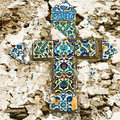 Mosaic tiled cross Royalty Free Stock Images
