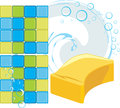 Mosaic tiles and sponge with soapy bubbles illustration Stock Photos