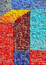 Mosaic wall with bright colors Royalty Free Stock Photo