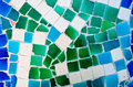 Mosaic wall from broken ceramic tiles Stock Photo