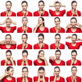 Mosaic of woman with freckles expressing different emotions expressions. The woman with red t-shirt with 16 different emotions. is Royalty Free Stock Photo