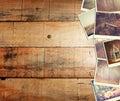 Mosaico con le immagini di scenico differente e di paesaggi collage con retro effetto Immagine Stock