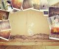 Mosaico con le immagini di scenico differente e di paesaggi collage con retro effetto Fotografie Stock Libere da Diritti