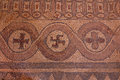 Mosaics in the ruins of early Byzantine basilica in Ohrid Royalty Free Stock Photo