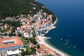 Moscenicka draga bay and long natural grit sand beach air photo in Croatia