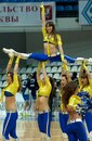 Moscow april cheerleaders groupe vip dance on a game dynamo msk vs dynamo nsk of women rba national tournament on april in moscow Royalty Free Stock Image