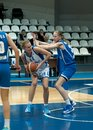 Moscow april n grishaeva in atack on a game dynamo msk vs dynamo nsk of women rba national tournament on april in moscow russia Royalty Free Stock Photo