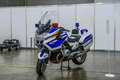 MOSCOW - AUG 2016: police bike BMW K 1600 GT presented at MIAS Moscow International Automobile Salon on August 20, 2016 in Moscow, Royalty Free Stock Photo