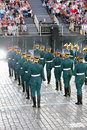 Moscow august backs soldiers honor guard presidential regiment military music festival spasskaya tower august moscow russia Royalty Free Stock Photos