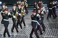 Moscow august orchestra moscow suvorov military music college military music festival spasskaya tower august moscow russia Stock Photography