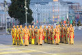 Moscow august rows soldiers orchestra armed forces jordan military music festival spasskaya tower august moscow russia Royalty Free Stock Images