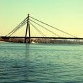 Moscow bridge across Dnepr river, Kiev, Ukraine Royalty Free Stock Photo