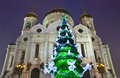Moscow, christmas tree and cathedral Stock Images