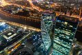 Moscow city business district night view from observation deck Royalty Free Stock Photo