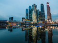 Moscow city international business center is being built business district in on presnensky quay Royalty Free Stock Photo