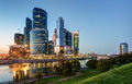 Moscow city moscow international business center at night russia Royalty Free Stock Images