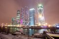 Moscow city moscow international business center at night russia Stock Image