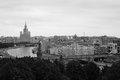 Moscow city panorama. Birds eye view. Black and white photo. Royalty Free Stock Photo