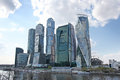 Moscow city sky scrapers business center and river russia april Royalty Free Stock Photo