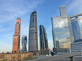 Moscow city sky scrapers business center and river russia april Stock Photography