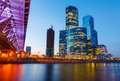 Moscow city skyscrapers of at night Royalty Free Stock Photo