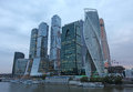 Moscow city skyscrapers and river Royalty Free Stock Photo