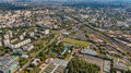 Moscow cityscape at day light aerial view on wide angle shot Stock Photo