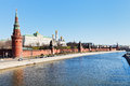 Moscow cityscape with kremlin embankments moskva river in spring day Stock Image