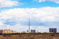 Moscow cityscape with TV tower and park in spring Royalty Free Stock Photo