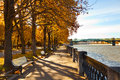 Moscow embankment view of in autumn Stock Photos