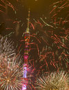 Moscow festival of light october salute devoted to opening international circle from tv tower in ostankino Stock Image