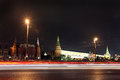 Moscow history museum kremlin wall and arsenal angle arsenal a troitskaya towers in the summer view through night traffic in Royalty Free Stock Photo