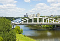 Moscow horoshevskiy bridge russia june on river Stock Photos