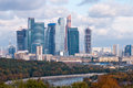 Moscow international business center view on the city scyscapers cityescape Stock Photos