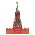 Moscow kremlin clock tower isolated city symbol spasskaya red square russia travel icon sketch vector illustration Stock Photos