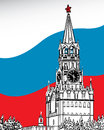 The moscow kremlin flag of russia vector a graphic illustration against background Stock Images