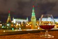 Moscow kremlin and glass of brandy night view from the waterfront Stock Photography