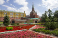 Moscow kremlin july on july russia colourful flower beds of the first public park in near the Stock Photography