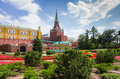 Moscow kremlin july on july russia colourful flower beds of the first public park in near the Stock Photos