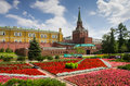 Moscow kremlin july on july russia colourful flower beds of the first public park in near the Royalty Free Stock Images