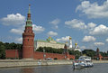 Moscow kremlin and kremlin embankment view from moskva moscow river moscow russia june tourist boat on the Royalty Free Stock Image