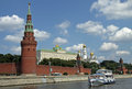Moscow kremlin and kremlin embankment view from moskva moscow river moscow russia june tourist boat on the Royalty Free Stock Photo
