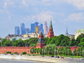 Moscow kremlin and moscow city district russia Stock Photography